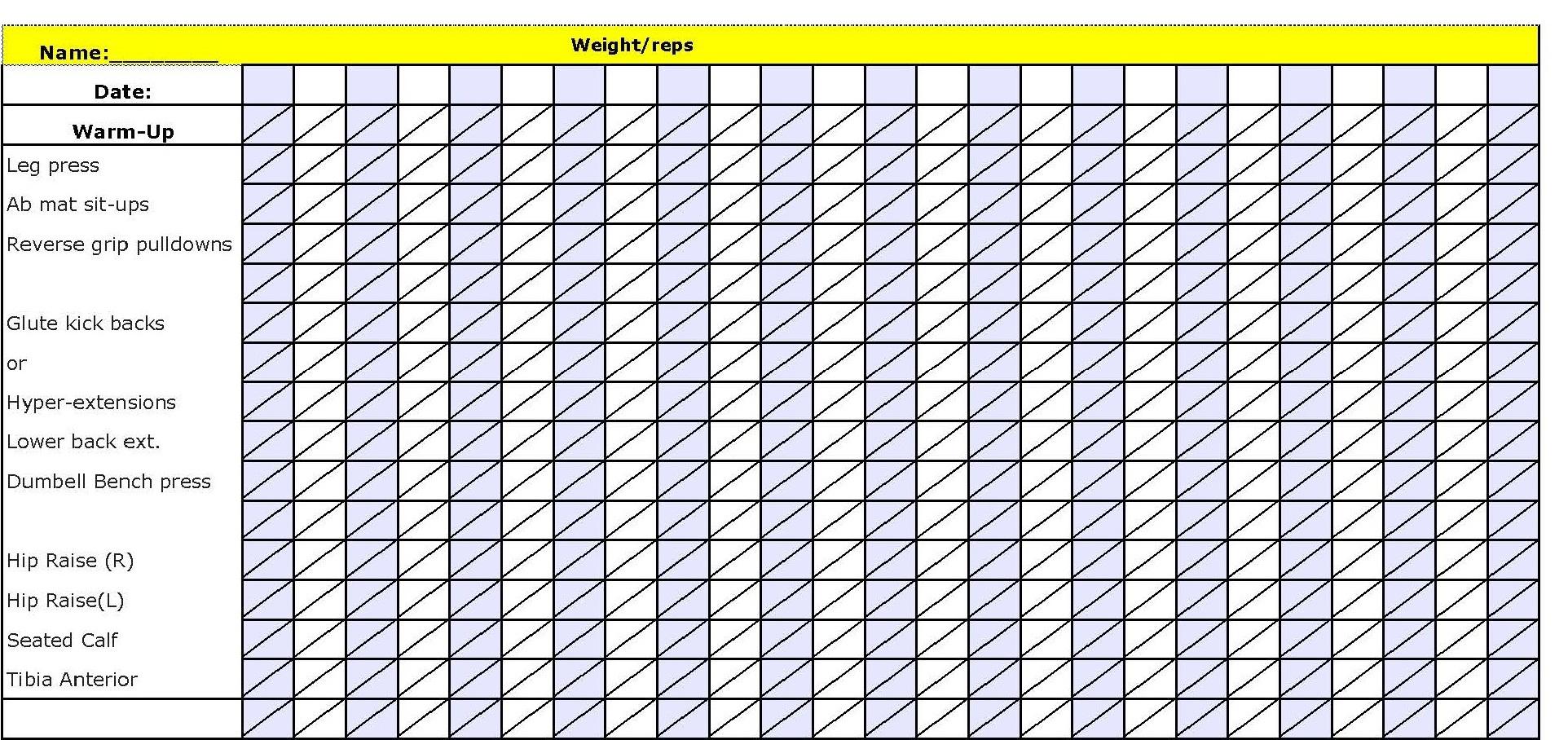 blank workout sheet