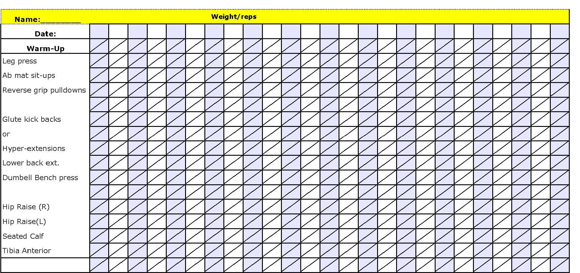 Blank Workout Sheet Ski